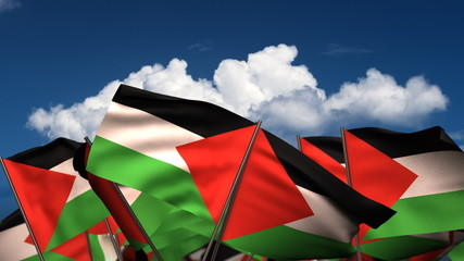 Waving Palestinian Flags