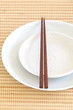 Empty white plate with chopsticks