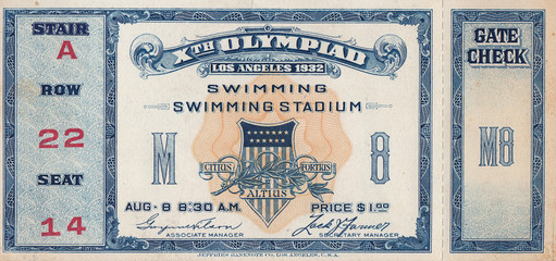 1932 Olympic Games Swimming Ticket