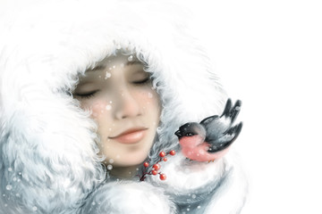 girl with a bullfinch. winter illustration
