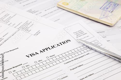 Leinwanddruck Bild visa application