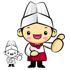 Chef Mascot the hand best gesture. Work and Job Character Design