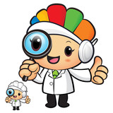 Clinical Dietitian mascot look through a magnifying glass. Work