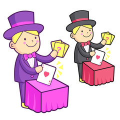 The Magician mascot is a card trick playing. Work and Job Charac