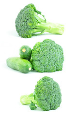 Green vegetables - broccoli and zucchinis - on white background