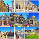 Collage of landmarks of Dresden, Germany