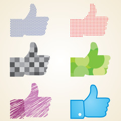 like button vector labels pack, sozialen medien