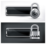 Metallic icon with round and square padlock on black