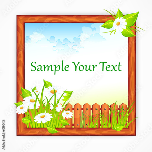 Wooden frame with landscape, nature picture, vector illustration