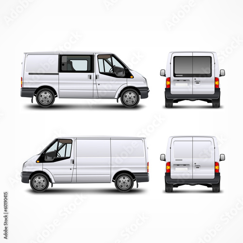 Minivan car, white bus isolated on white, vector illustration