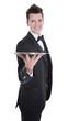 Kellner oder Ober isoliert mit Silbertablett