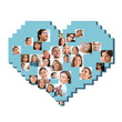 Collection of different people portraits in heart shape