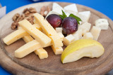 Cheese platter with selective focus
