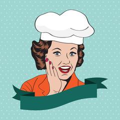 Lady Chef,  retro illustration