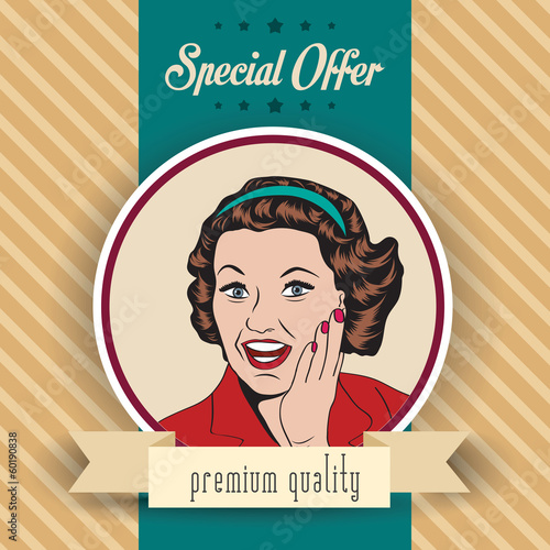 happy woman, commercial retro clipart illustration