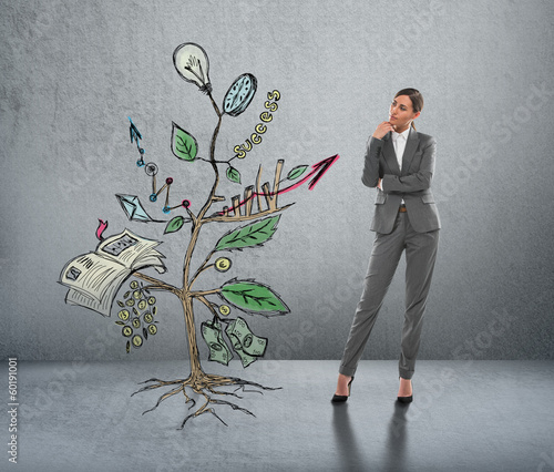 Concept of Growing company with sketch of a plant with business