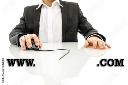 Businessman accessing a web address