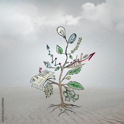 Concept of Growing company with sketch of a tree with business s