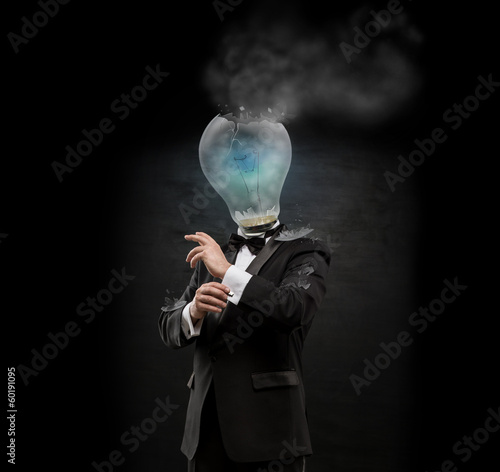 Overworked burnout business man standing headless with exploded