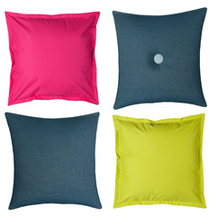 Colored pillows on white background
