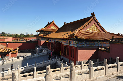 roof pagodas in the forbidden city in Beijing, China