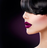 Fototapety Beauty Woman Face close up with Beautiful Dark Violet Lips