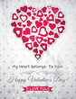 grey valentines day greeting card  with  white heart and wishes