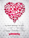 Fototapety grey valentines day greeting card  with  white heart and wishes