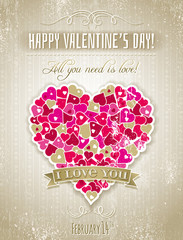 valentines day greeting card  with  heart and wishes text,  vect