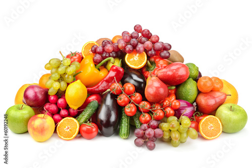 collection fruits and vegetables isolated on white background