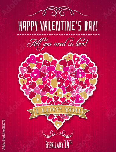 Red valentines day greeting card  with  heart and wishes text,