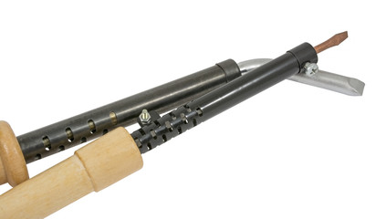 Soldering iron with a wooden handleron