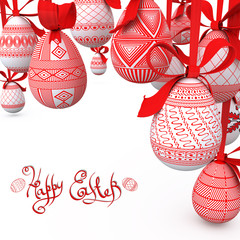 easter background with folk pattern red eggs on ribbon