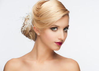 Girl with hairstyle and makeup