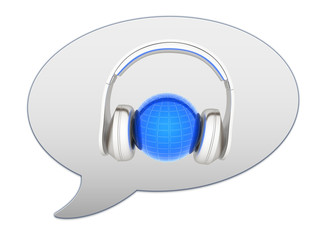 messenger window icon. 3d illustration of earth listening music