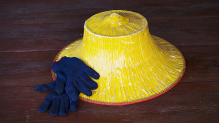 Farmer's hat and gloves stock photo