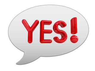 "messenger window icon. Red text "" Yes!"""