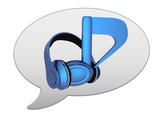 messenger window icon. Blue headphones and note