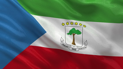 Flag of Equatorial Guinea waving in the wind - seamless loop