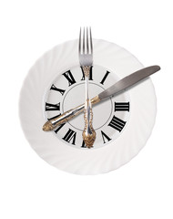 Plate in the form of the dial. Cutlery as a clock.