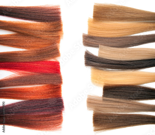 Palette samples of dyed hair.