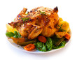 Roasted chicken and vegetables - shallow DOF