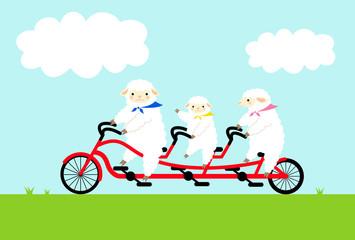 ヒツジの親子とサイクリング 青空