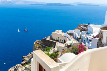 View of Fira town - Santorini island,Crete,Greece.