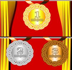 medale na czerwonym tle