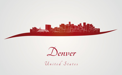 Denver skyline in red