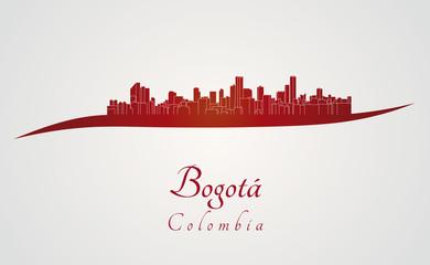 Bogota skyline in red