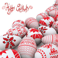easter background ukrainian traditional folk egg red pattern