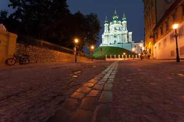 View to Andreevsky Church at night