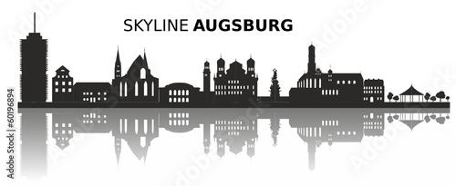 fototapete skyline augsburg fototapeten aufkleber poster leinwandbilder. Black Bedroom Furniture Sets. Home Design Ideas